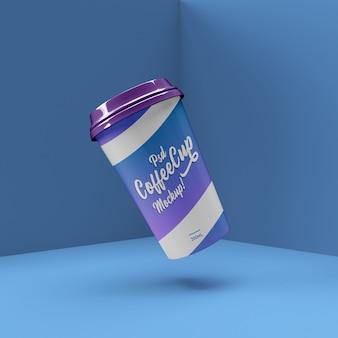 Пластиковый и бумажный стаканчик реалистичный макет сцены