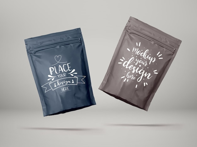 비닐 봉투, 호일 파우치 백 포장. 브랜딩 및 아이덴티티를위한 패키지.