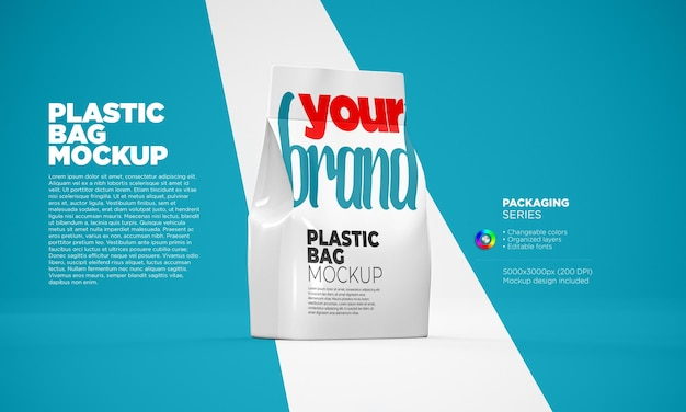 Plastic bag mockup in 3d rendering