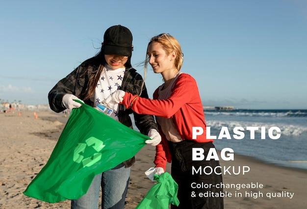 Plastic bag mockup psd, teenager beach clean up volunteering