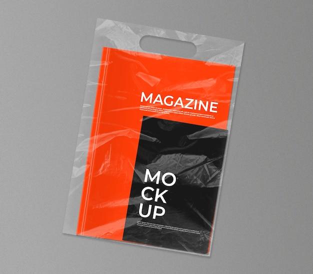 Plastic bag with magazine mockup