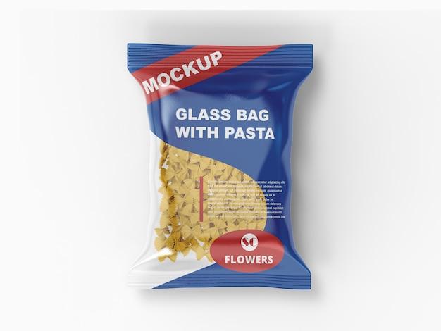 Plastic bag with pasta  mockup
