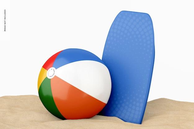 Plastic beach ball with bodyboard mockup