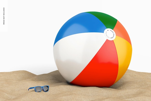 Plastic beach ball with sunglasses mockup