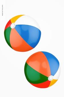 Plastic beach balls mockup, floating