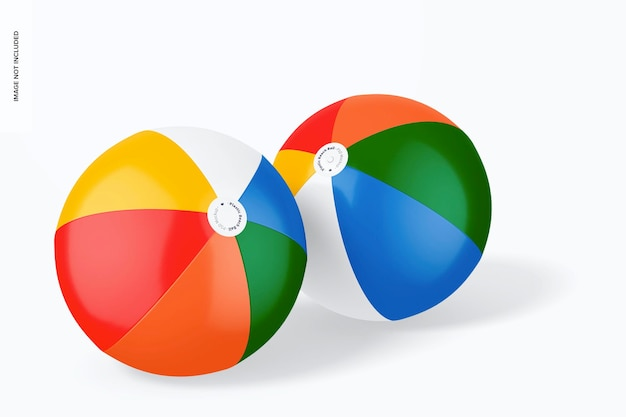 Plastic beach balls mockup