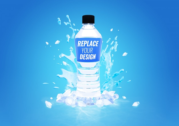 Plastic bottle cool water splash mockup advertising