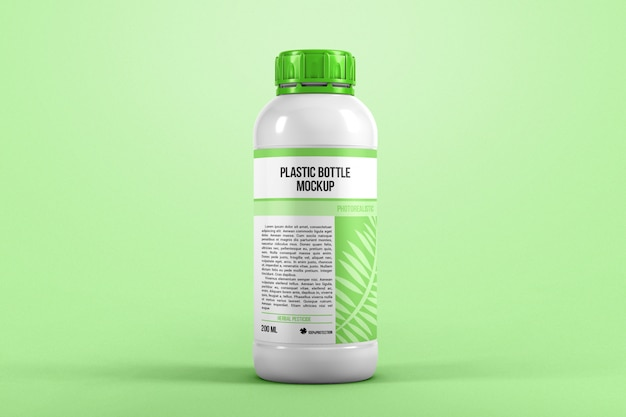 Plastic bottle front view mockup