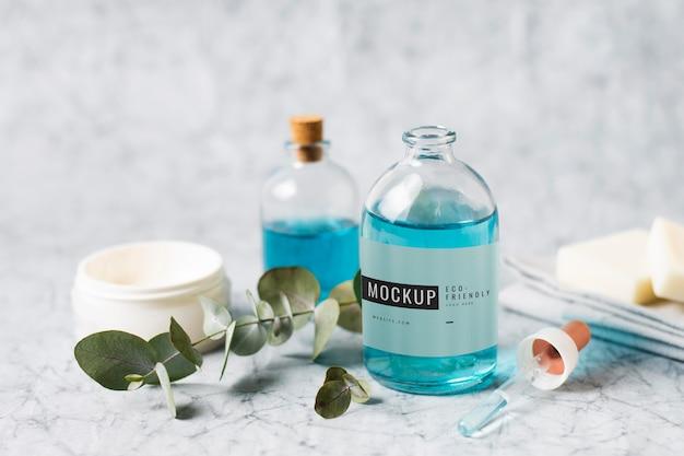 Plastic bottle mock up on table
