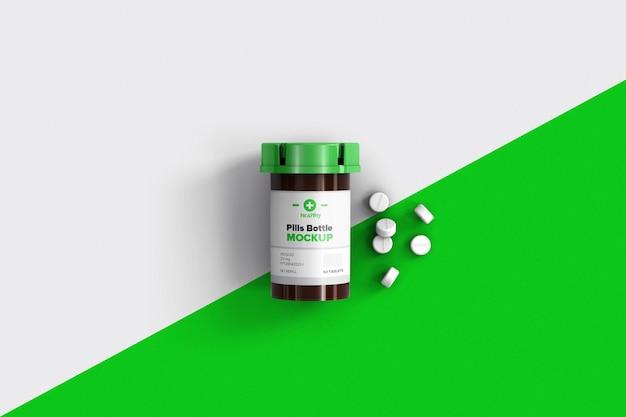 Plastic bottle for pills mockup design isolated