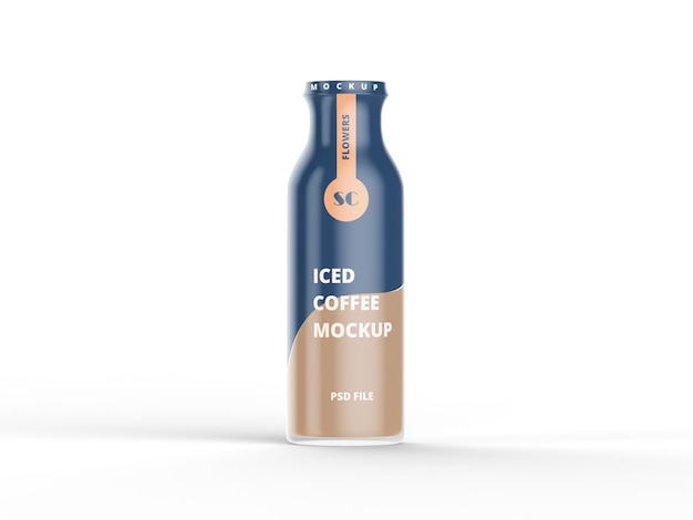 Plastic bottle w/ cold brew coffee mockup