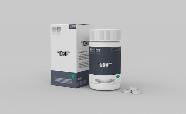 Plastic bottle with box and drugs mockup