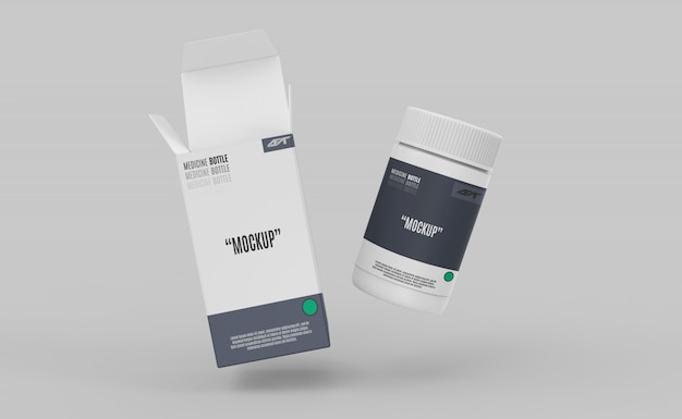 Plastic bottle with box mockup