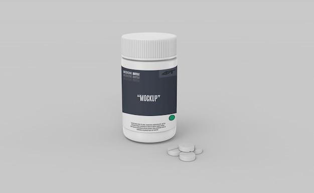 Plastic bottle with drugs mockup