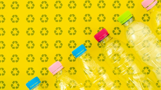 Plastic bottles on background mock-up