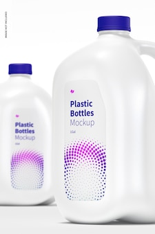 Plastic bottles mockup, close up