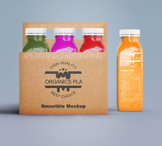 Plastic bottles of organic smoothie in cardboard boxes