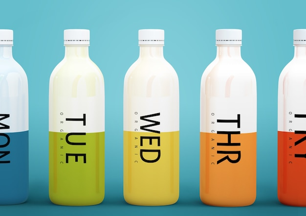 Plastic bottles with different fruit or vegetable juices for every day of the week