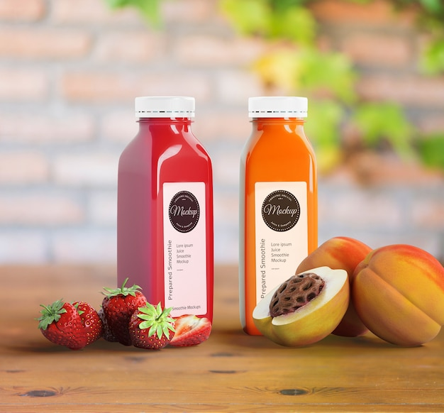 Plastic bottles with different fruit or vegetable juices and fruits