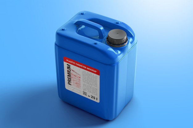 Plastic canister for liquid with label mockup