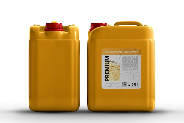 Plastic canisters for liquid with label mockup