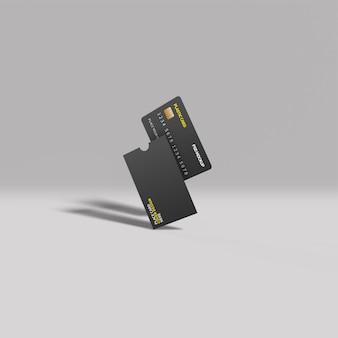 Пластиковая карта и обложка, вид спереди, макет