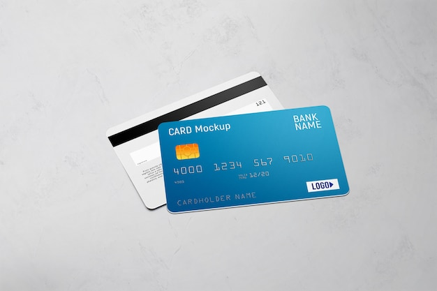 Plastic card double sided mockup