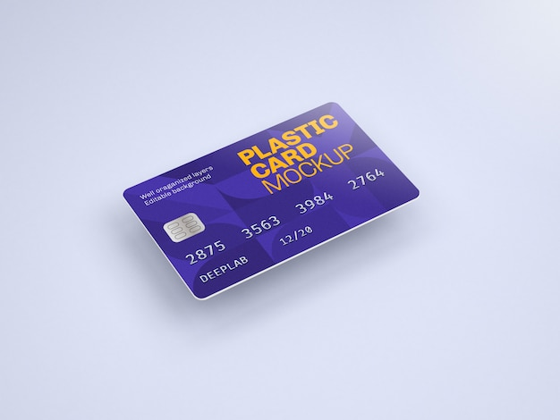 Plastic card mockup with editable background color