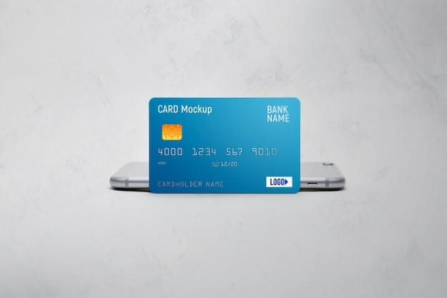 Plastic card on a phone mockup