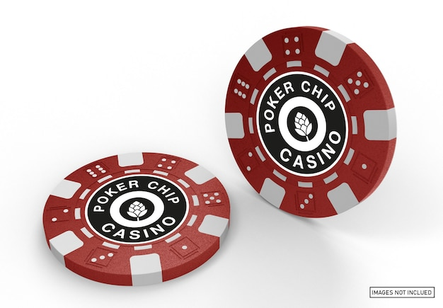 Plastic casino tokens mockup