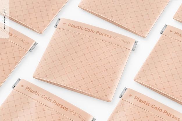 Мокап пластиковых кошельков для монет
