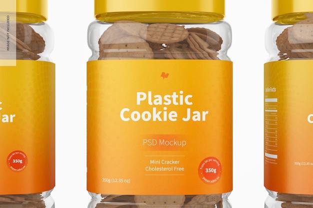 Mockup di barattolo di biscotti in plastica, primo piano