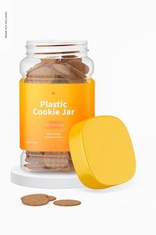 Mockup di barattolo di biscotti in plastica, aperto