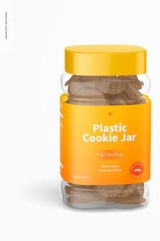 Mockup di barattolo di biscotti in plastica