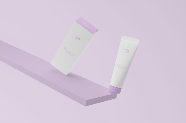 Plastic cosmetic tube with cardboard package mockup
