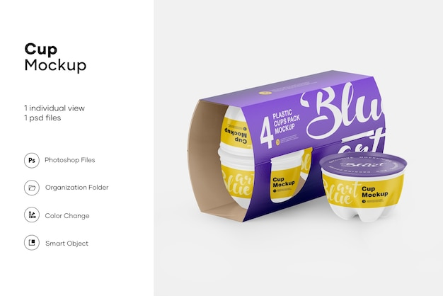 Plastic cup pack mockup isolated