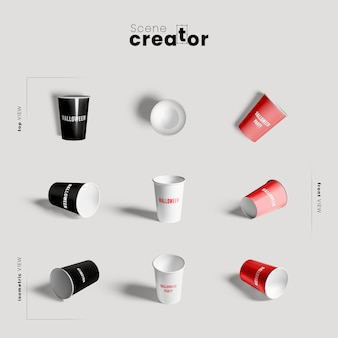 Plastic cup variety of angles halloween scene creator