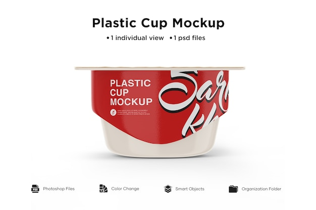 Plastic cup with foil lid mockup front view