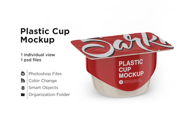 Plastic cup with foil lid mockup