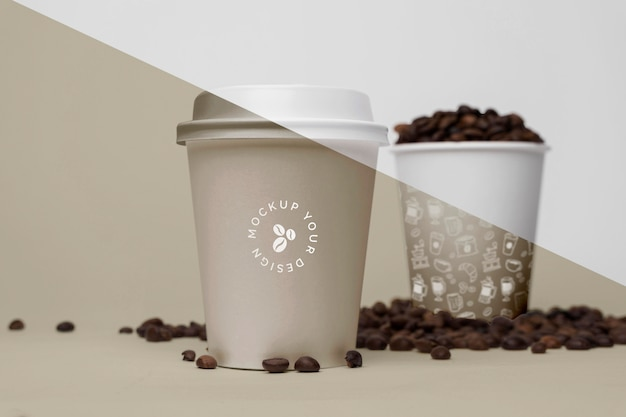 Plastic cups with coffee beans