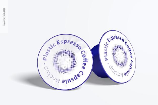 Plastic espresso coffee capsules set mockup
