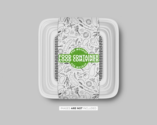 Plastic fast food container box with label