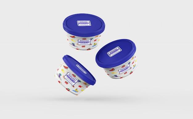 プラスチック製の食品容器のモックアップ