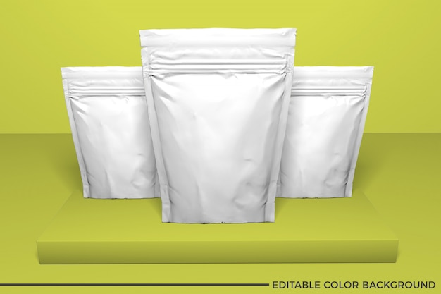 Plastic food pouch mockup