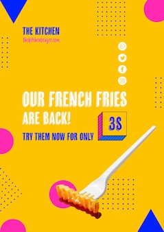 Plastic fork with french frie offer