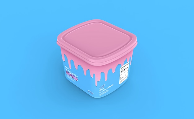 Plastic ice cream container box mockup