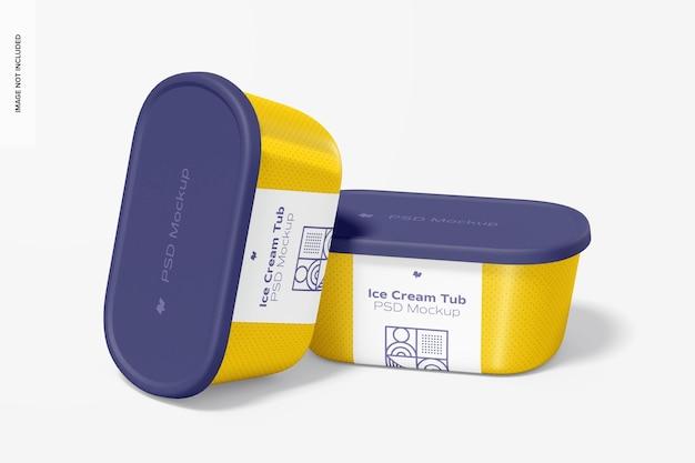 Макет пластиковых банок для мороженого, вид спереди