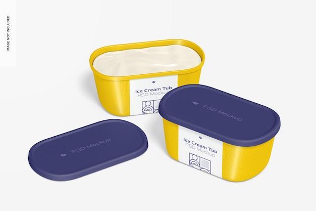 Мокап пластиковых банок для мороженого, открытые и закрытые