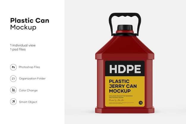 Plastic jerry can mockup design isolated