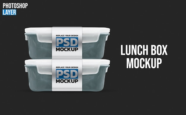 Plastic lunch boxes mockup